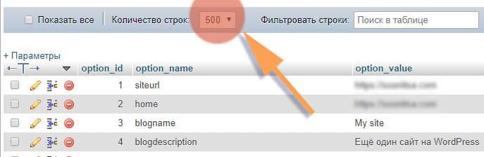 база данных выбираем 500 строк для отображения
