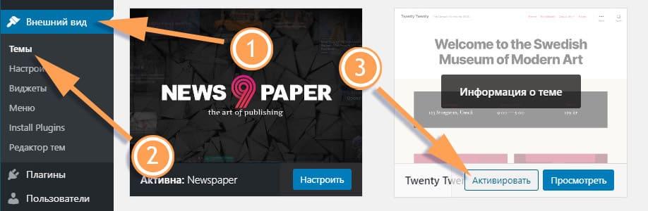 белый экран смерти – смените активную тема WordPress